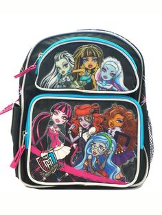 Full Size Black, Blue, and Pink Monster High Backpack - Monster High Bookbag -- Want to know more, click on the image.