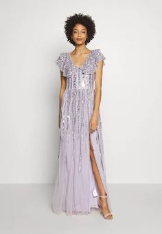 Maxi Dress With Sleeves, Dress Up, Short Sleeve Dresses, Engagement Outfits, Costume, Occasion Wear, Ruffle Sleeve, Lilac, Photoshoot