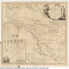 """""""Nautical map intended for the use of colonial undertakings from An essay on colonization, particularly applied to the western coast of Africa, 1794. Econ 2400.3* Houghton Library, Harvard University"""