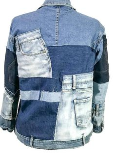 M/L Up cycled denim jacket; patched or patchwork jean jacket; free people style, one of a kind; wearable art; up cycled denim coat; patchwork denim coat This piece started with a L denim jacket. After taking apart many blue jeans and denim skirts I had enough pieces to patch onto