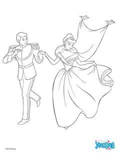 Voici un super coloriage de Cendrillon lors du bal. Un beau dessin de la princesse Cendrillon et de son prince. Un joli coloriage Disney qui plaira à toutes les petites filles.