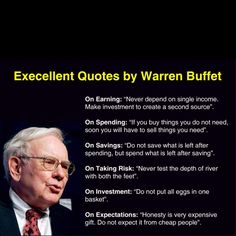 Warren Buffet quotes about earning, spending, saving, taking risk, investment and expectations