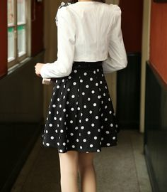 Casual Scoop Neck Polka Dot Waistband Twinset Plus Size Semi Formal Dress For Women (in Black) (DressLily.com)