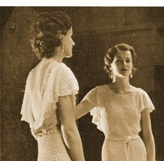 1930s Backless Evening Gown with Short Flutter Sleeves - Crochet pattern PDF 3201. $4.50, via Etsy.