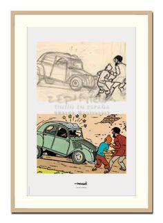 2CV · El asunto Tornasol, plancha 12 (1955)  Esbozo hecho de plomo en tinta china sobre papel.  Coloración azul, acuarela y guache sobre prueba impresa.