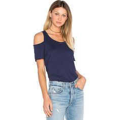 LA Made Jana Cut Out Tee (64 CAD) ❤ liked on Polyvore featuring tops, t-shirts, basic tops, cut-out tops, blue tee, la made t shirts, cutout tops and blue t shirt