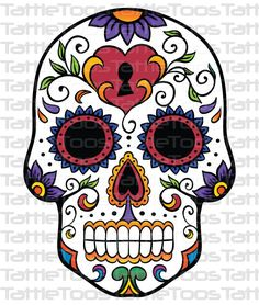 Mexican Sugar Skull Self Adhesive Vinyl Sticker Mexican Skull Tattoos, Mexican Skulls, Sugar Scull, Sugar Skull Art, Caveira Mexicana Tattoo, Mexico Day Of The Dead, Catrina Tattoo, Totenkopf Tattoos, Schulter Tattoo