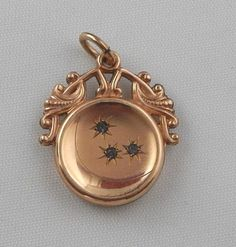 Antique Victorian Rose Gold Filled Rhinestone Crescent Moon Watch Fob Pendant