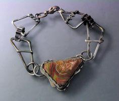 Bracelet   Temi Kucinski. Sterling silver and crazy lace agate cabochon
