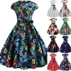 780612351938 Swing Dresses Archives. Women Party Floral Swing Mini Dresses Retro ...