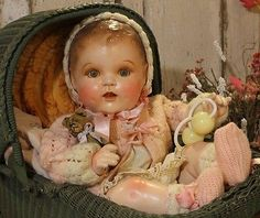 """Adorable Life Size 25"""" Vintage Old Antique Composition and Cloth Baby Doll"""