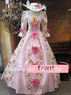 Medieval Renaissance Gown rose Dress with hat vampire Costume Victorian Gothic Lo/Marie Antoinette/civil war/Colonial Belle Ball-in Costumes...