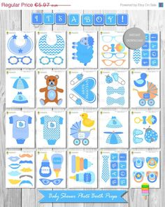Baby Shower Photo Booth Props – Instant Download - Printable Baby Shower–DIY Printable Photo Booth Props–Its a Boy-Baby Shower Boy