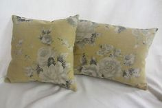 Emma Linen Gold Grey Floral with Plain Linen Back Cushion Cover | eBay seller 1249janeg