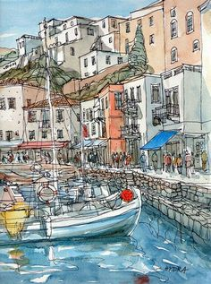 Hydra Port 2 Greece art print from an original watercolor painting Watercolor Architecture, Art And Architecture, Pen And Watercolor, Watercolor Paintings, Watercolours, Art Sketches, Art Drawings, Greece Art, Urbane Kunst