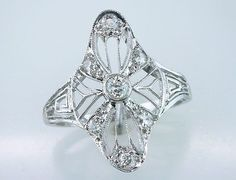Vintage Antique 1/3ct Diamond Platinum Art Deco Filigree Cocktail / engagement Ring, $795.00