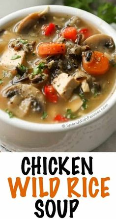 This flavorful Chicken Wild Rice Soup is hearty and delicious loaded with fresh vegetables, wild rice and chicken. This dish contains no cream or dairy products making it a healthy choice that will w (Bake Rice Soup) Lunch Recipes, Soup Recipes, Dinner Recipes, Cooking Recipes, Recipies, Zoodle Recipes, Chicken Flavors, Chicken Recipes, Healthy Chicken