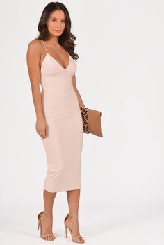 Halle Peach Spaghetti Strap Midi Dress