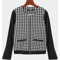 Yoins Black Fashion Houndstooth Jacket (325 EGP) ❤ liked on Polyvore featuring outerwear, jackets, black, pattern jacket, print jacket, hounds tooth jacket, houndstooth jacket and long sleeve jacket