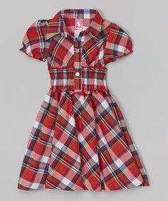 Love this Red & White Plaid Puff-Sleeve Dress - Toddler & Girls by Maria Elena on #zulily! #zulilyfinds