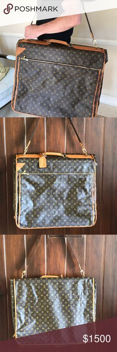 LOUIS VUITTON Monogram Garment Travel Bag - Removable and adjustable shoulder strap - One leather handle - Graphite canvas body - Leather trim - Name tag Louis Vuitton Bags Travel Bags