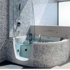 Contemporary Bathroom Style with Corner Bathtub Shower Combo and Wonderful  Mosaic Ceramic Wall Tiles by Teuco a part of Beautiful Triangle Corner  Bathtub  Easy access walk in tub shower  Beautiful    Aging in P A L A C E  . Easy Access Bathtubs Showers. Home Design Ideas