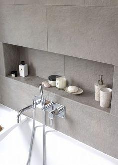 "Modern Bathroom Photos Nische im Badezimmer mit Fliesen grau. approach with this family bathroom was to create a light, modern space,"" says Fiona Ly. Bathroom Niche, Shower Niche, Bathroom Photos, Bathroom Toilets, Family Bathroom, Laundry In Bathroom, Bathroom Inspo, Bathroom Shelves, Bathroom Interior"