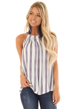 5cd5960837b Navy and White Striped Tank Top with Button Down Back - Lime Lush Boutique  Boutique Tops