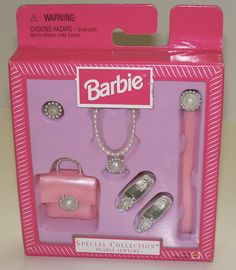 1997 Barbie Special Collection Pearly Jewelry Set Necklace Belt Shoes Purse | eBay