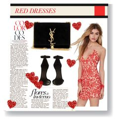 """""""HOT RED DRESS"""" by tessawarongan on Polyvore featuring For Love & Lemons, Yves Saint Laurent, Isabel Marant, women's clothing, women, female, woman, misses and juniors"""