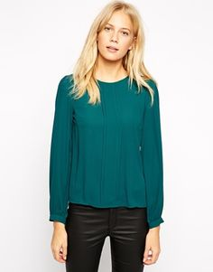 Oasis Frill Pleat Long Sleeve Top