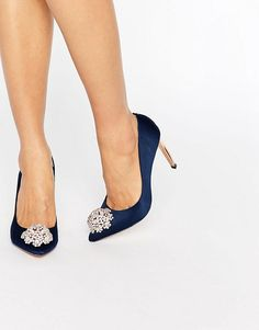 Discover Fashion Online | Ted Baker Peetch Tie The Knot Navy Embellished Pumps
