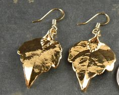 24kt Gold Plated Real Grape Leaf Earrings by MaryMorrisJewelry, $28.00