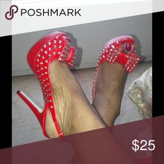 """Lil red riding hood Beautiful red dot peep toe pumps 4"""" heels,worn once. Shoe Dazzle Shoes Platforms"""