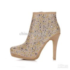 Wholesale Boots - Buy Women Dress Shoes Ankle Boots Luxury High Heel Shoes Europ Design Brown Rivet Boots Free Shipping, $75.31 | DHgate