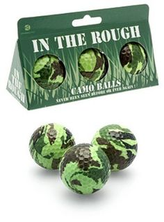 Camo-Golf Balls: white elephant gift - I have enough trouble finding a white one.