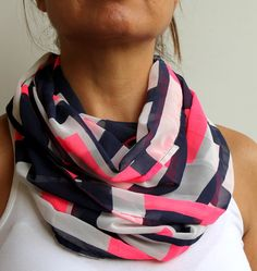 Neon Pink Navy Blue Geometric Infinity Scarf Spring by warmandsoft, $14.90