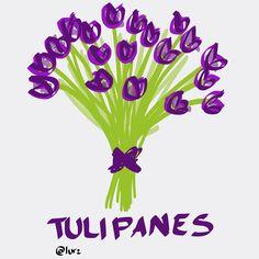 Purple tulip bouquet hand drawn #tulips #bouquet #handwritten #purple #flowers #gift #doodletoday #doodle #typo