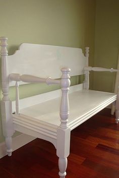 bench made out of old headboard/footboard