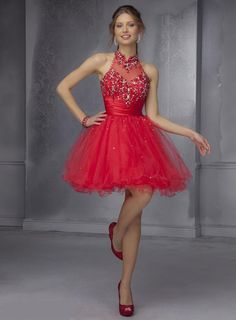 Luxurious red Empire A-Line Beading Short Prom/ Sweet 16 Dress