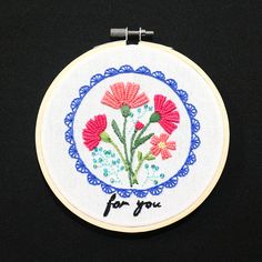 Daiso carnation bouquet hand embroidery Carnation Bouquet, Carnations, Daiso, Hand Embroidery, Decorative Plates