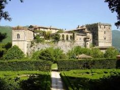 Castello Massimo, in Arsoli, just outside of Rome.  Country seat of the Massimo family.   The family had close ties to several other noble families in Italy and other European countries, and evidence of these influences can be seen in the castle today.