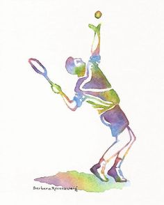 Tennis Player Art Print Painting, Man Father Dad Sport Gift Barbara Rosenzweig Etsy Reproduction Original Watercolor Holiday Home Decor