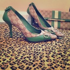 Gucci Spectator Pumps in rare Green sz 9 These high heels are absolutely a rare find!! Worn minimally and in perfect condition. Green leather trim on Gucci logo ground- magnificent combo! The hardware bit is in a soft gold- not cheesy yellow! Stunning! Gucci Shoes Heels