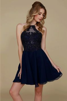 Wholesale Cocktail Dress with halter neckline featuring hand beaded top 16d5fece7