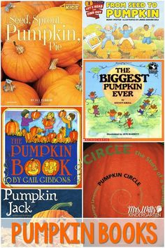 Exploring Pumpkin Life Cycles Books in Kindergarten! Science, math, literacy, and fine motor skills are included in this week's lesson plans. Center ideas and station ideas too!