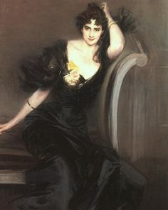 Gertrude Elizabeth (née Blood), Lady Colin Campbell (c.1897). Giovanni Boldini (Italian, 1842-1931). Oil on canvas. NPG, London. Gertrude Blood married Lord Colin Campbell, in 1881, but separated from him in 1886 after a scandalous case in which he alleged her adultery with four co-respondents. She worked as an art critic, published works, and was admired for her athletic prowess. Boldini imparted a special glamour to this alluring sitter by taking liberties with the rules of anatomy.