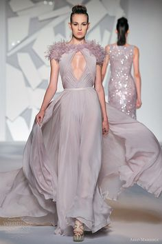 abed mahfouz fall 2012 couture sleeveless powder pale lilac lavender cutout gown