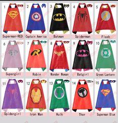 Kids Super Hero Costume Cape & Mask Batman Children Superhero Outfit Superman