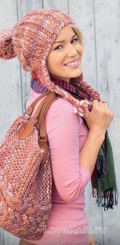 Спицами шапка с ушками и помпоном и сумка к ней фото к описанию